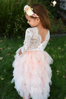 Hallie Lace Tutu Dress - Peach
