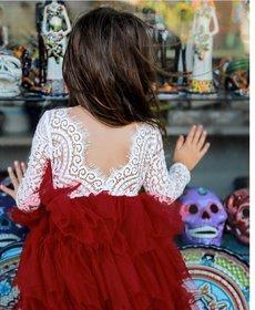 Hallie Lace Tutu Dress - Wine